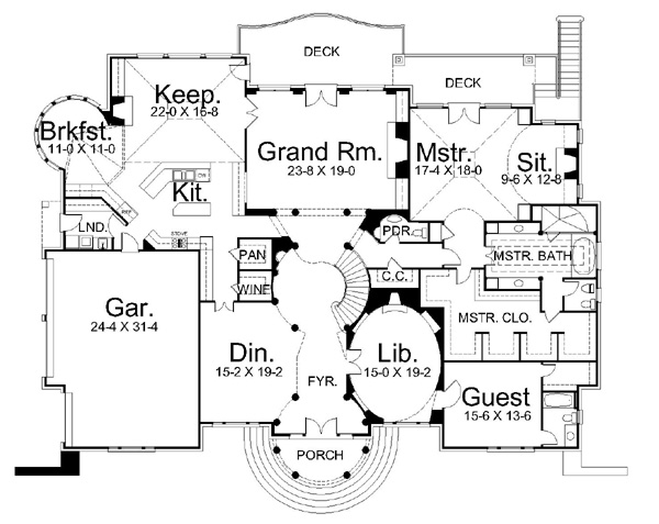 Regency 6012 4 bedrooms and 4 baths the house designers for Regency house plans