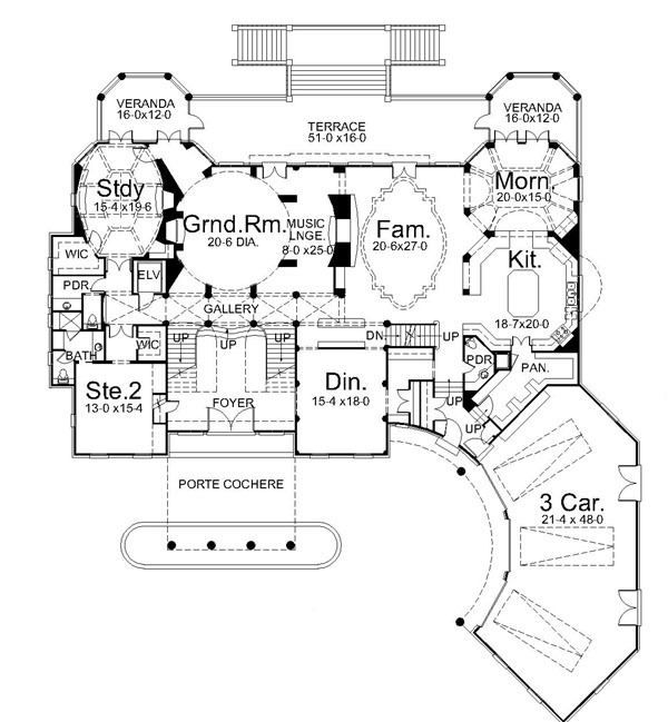 1st Floor Plan image of Villa Cornaro House Plan