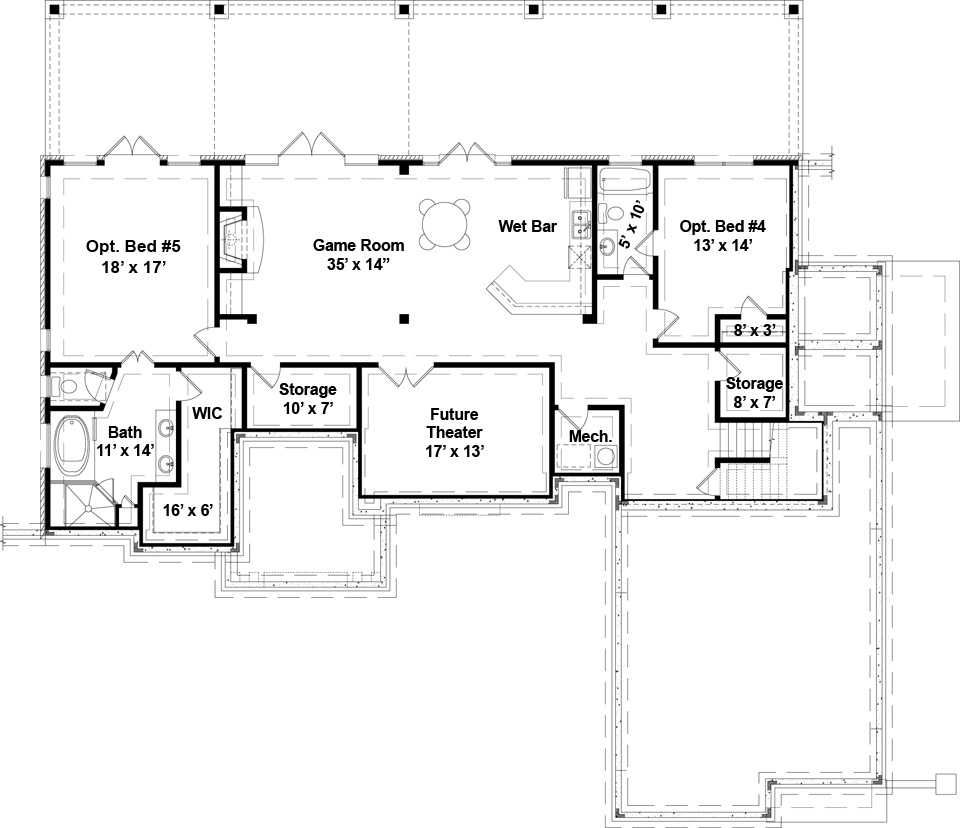 Laurel 5215 3 bedrooms and 2 5 baths the house designers - One level house plans with basement paint ...