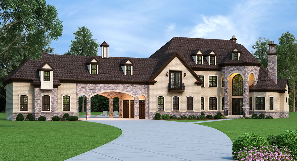 Grand house plan with porte cochere for French country house plans with porte cochere