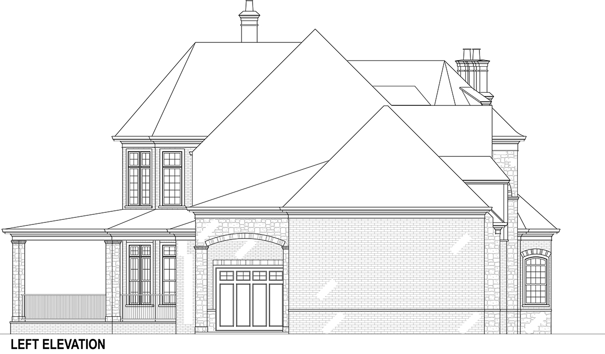 Front Elevation Of Staircase : Grand house plan with porte cochere