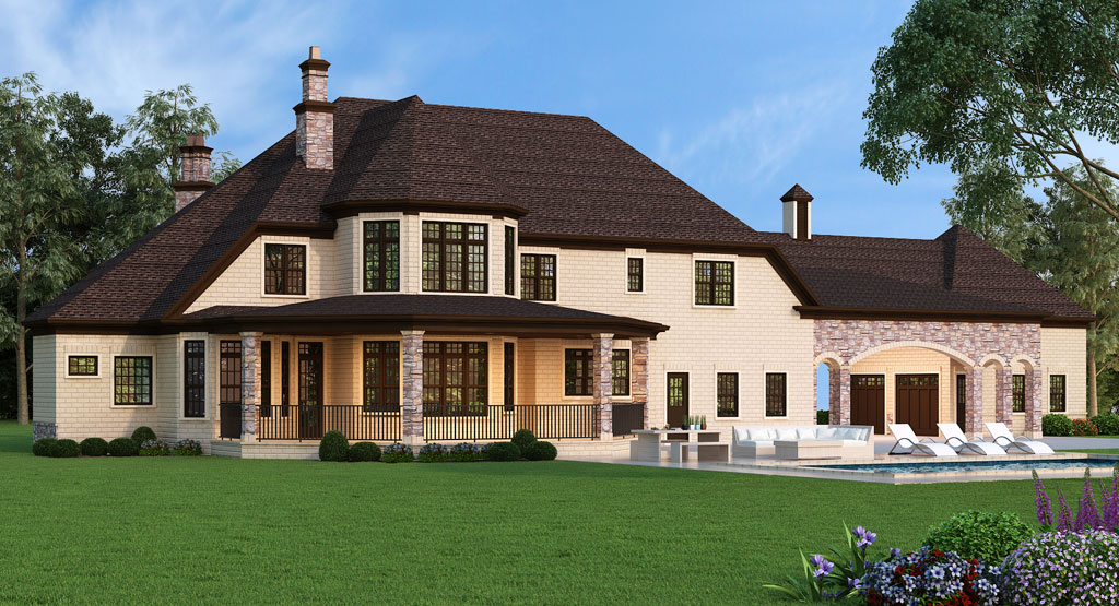 Grand house plan with porte cochere for Porte cochere home plans