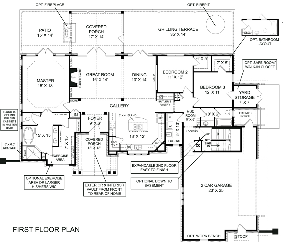 Laurel 5215 3 bedrooms and 2 5 baths the house designers The laurels floor plan