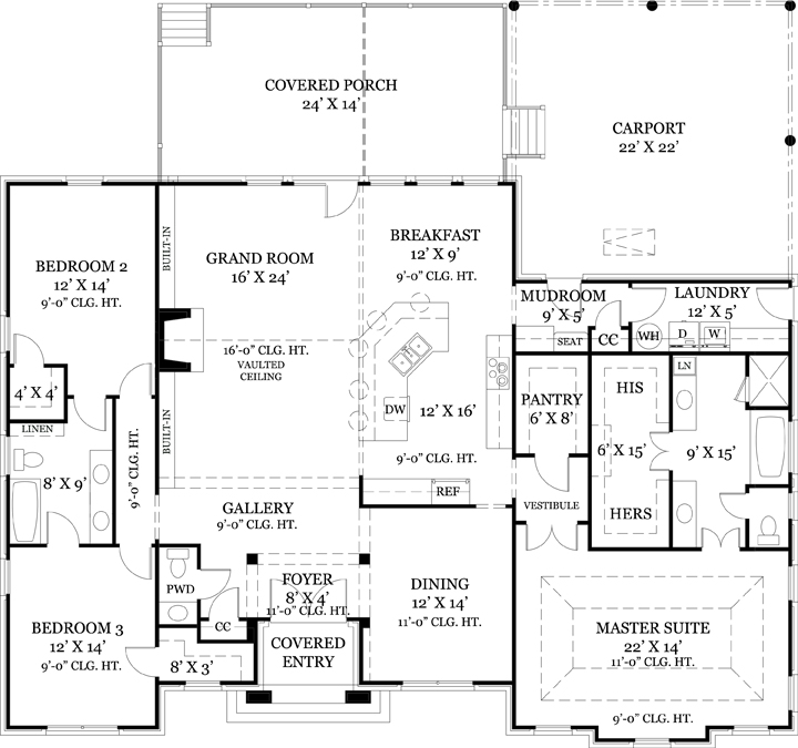 One story house plan with split bedrooms for Plumbing blueprints for my house