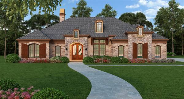 One-story House Plan With Split Bedrooms