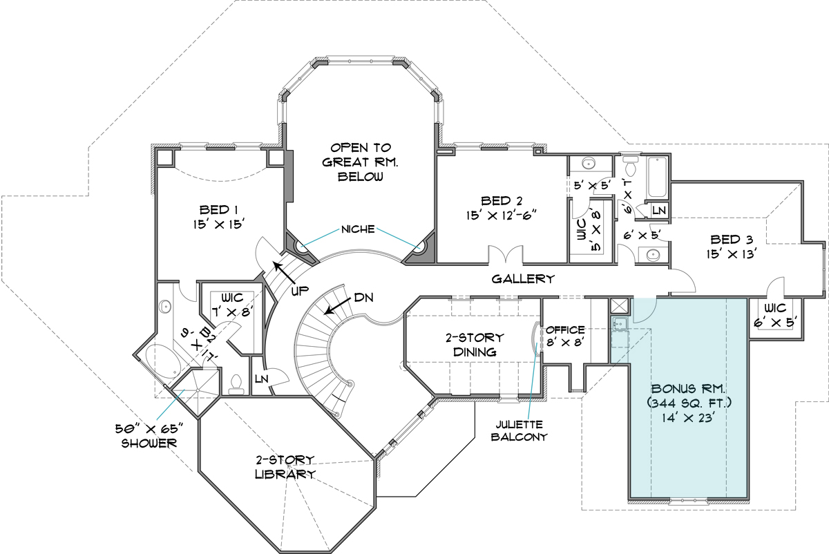 Four bedroom traditional house plan for Stone house floor plans