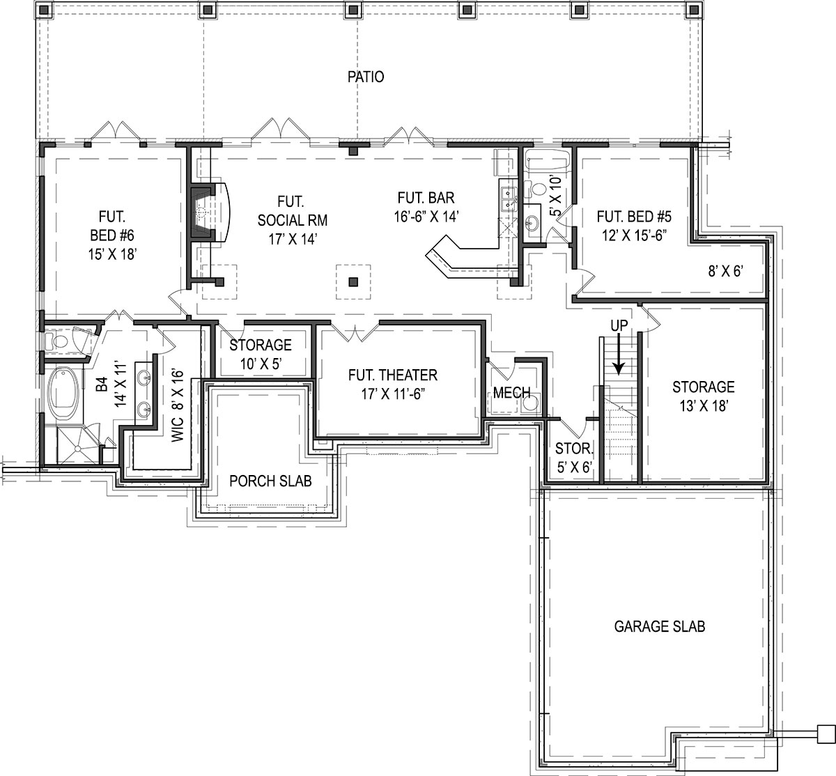 House Plans With Basement 1500 square feet house plans ranch house plans with walkout basement split bedroom house Basement Floor Plan