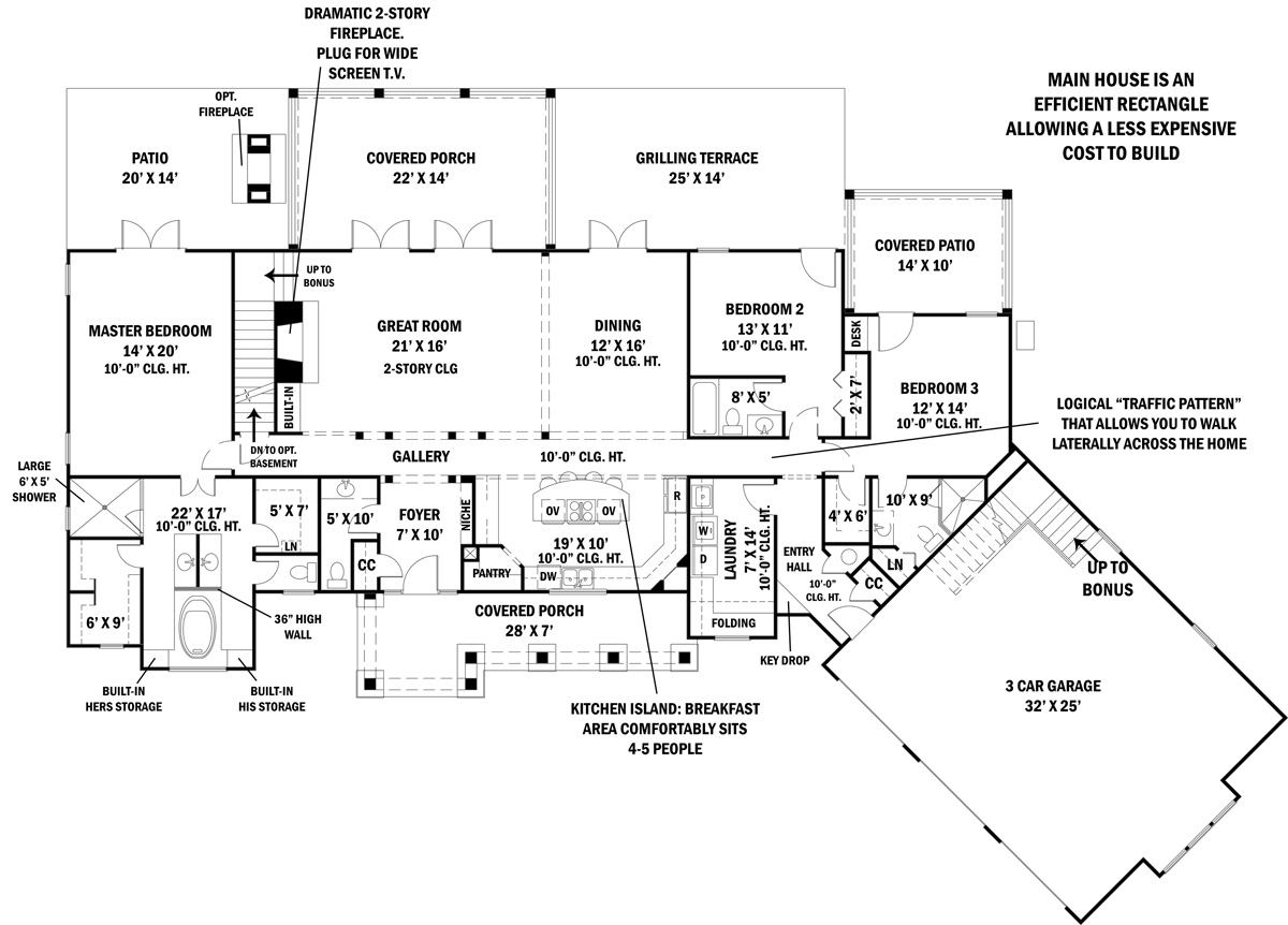 Eco friendly spacious ranch house plan for Ranch floor plans with basement