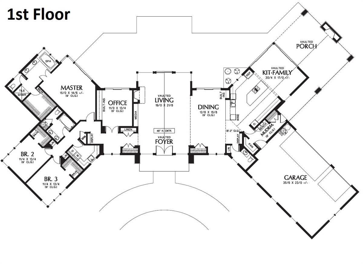 modern one story house plan