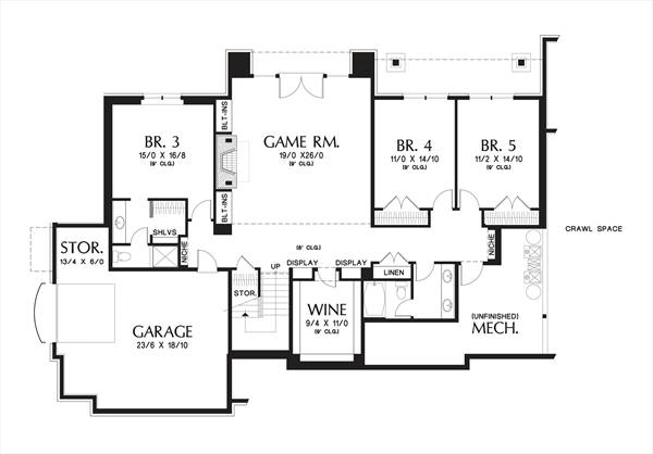 Lower Floor Plan image of Hendrick House Plan