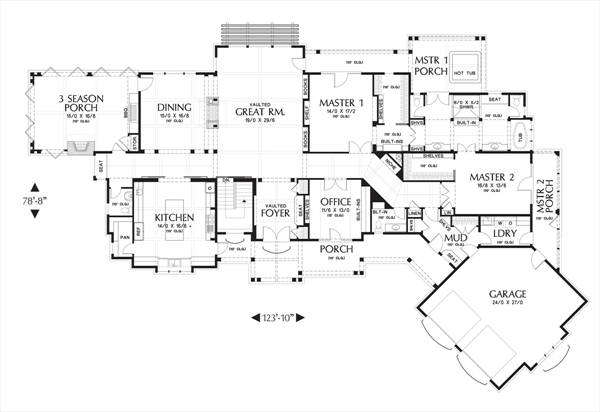 Main FLoor Plan image of Hendrick House Plan