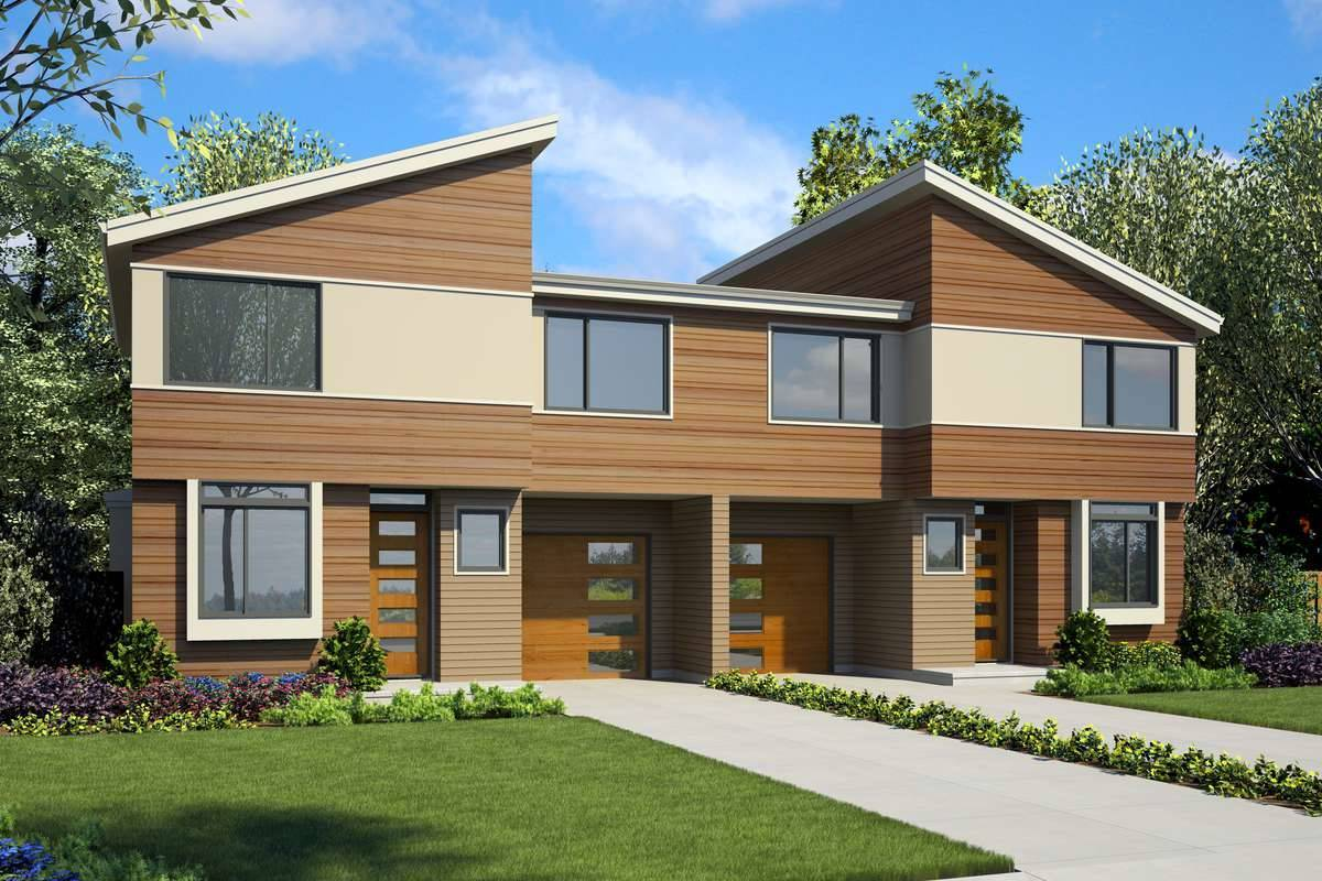 7224 front rendering 9059 - 48+ Modern Small Duplex House Designs And Pictures Images