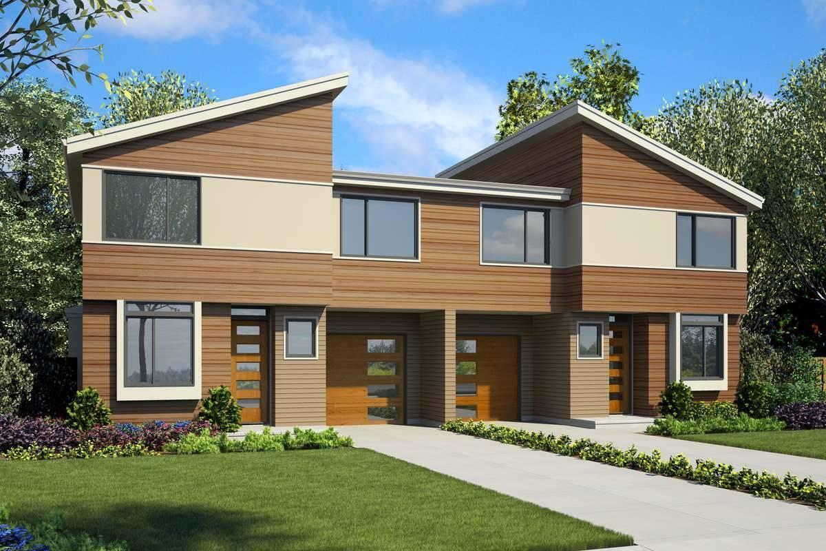 Builder Preferred Modern Style Duplex House Plan 7224: Wellton