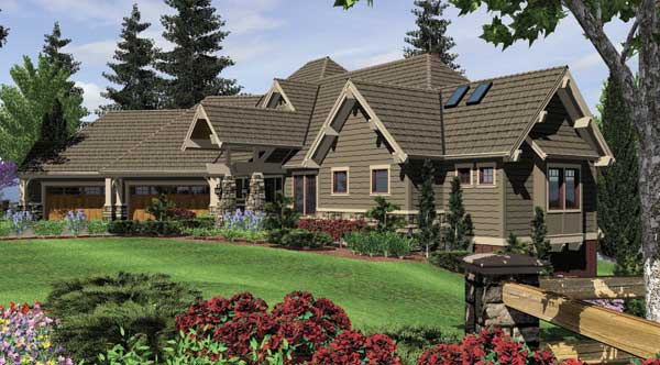 Stone Craftsman House Plans 4000 Square Ft Canted 3 Car Garage