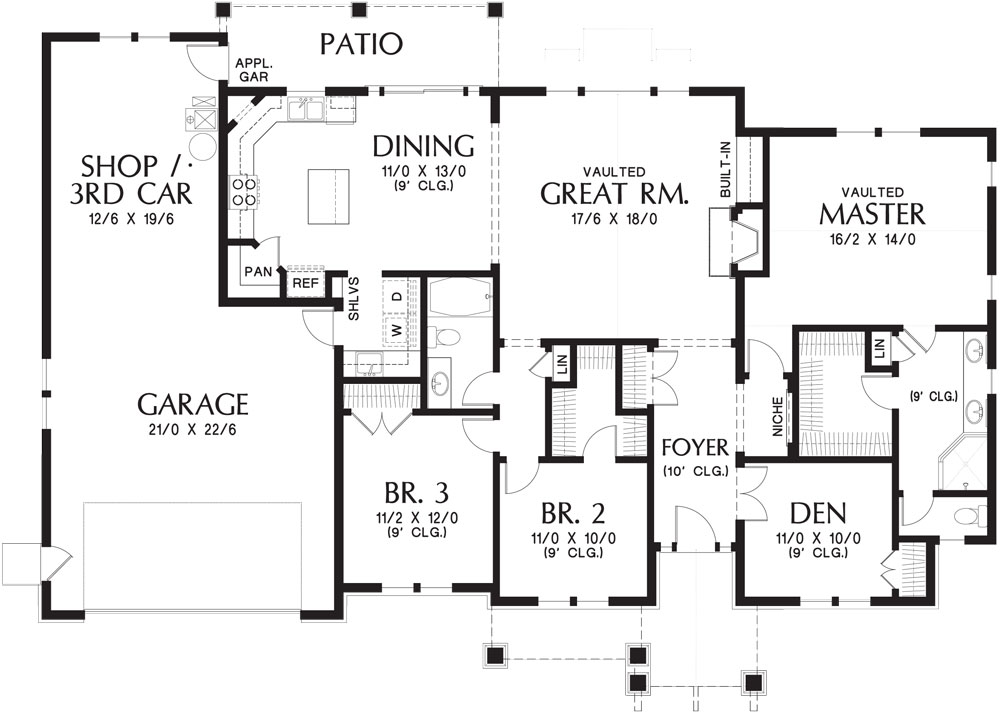Three-bedroom Ranch House Plan