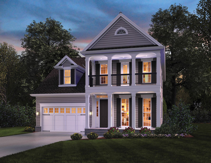 Ontario inspired narrow house plan the house designers Southern colonial style house plans