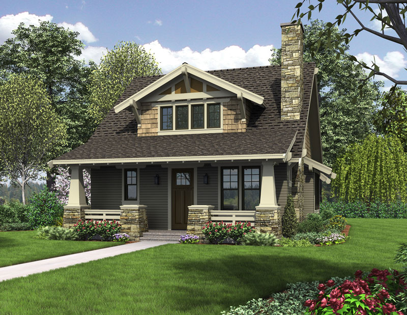 Front Rendering three bedroom bungalow house plan