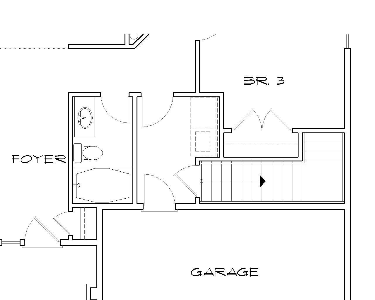 Stair Location for Basement Version image of Granville House Plan