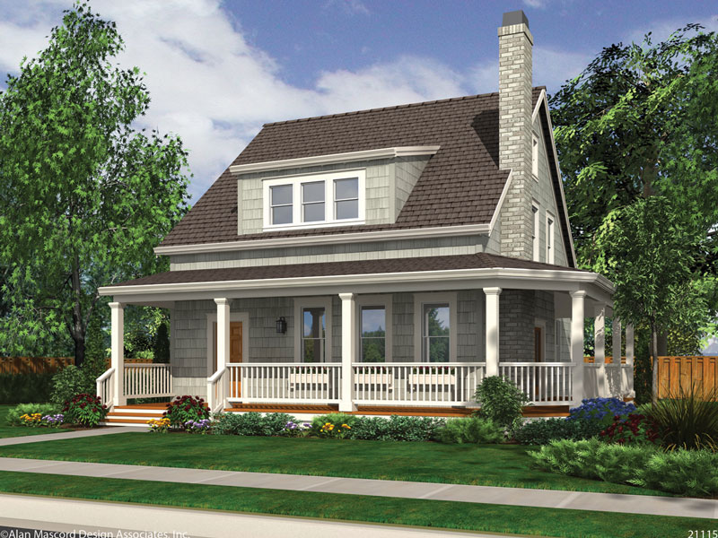 New home designs trending this 2015 the house designers for Craftsman wrap around porch