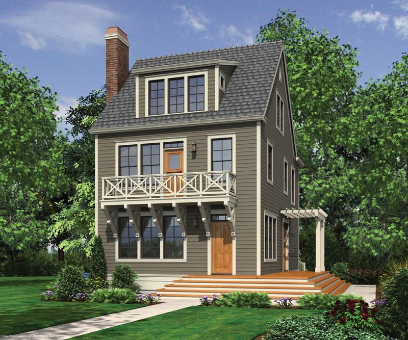 Hull 8541 3 bedrooms and 2 baths the house designers for 3 story house plans narrow lot