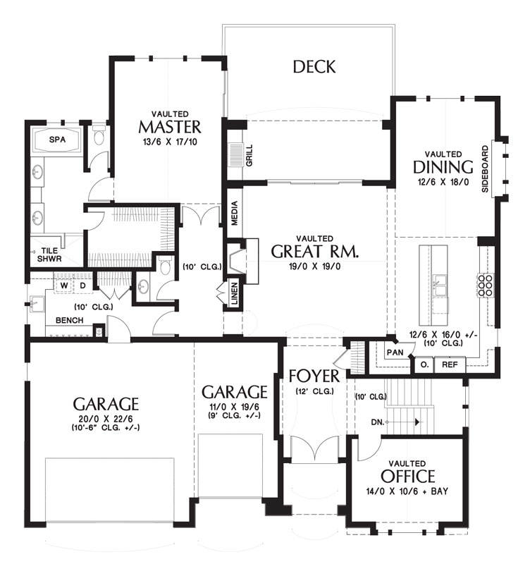 Craftsman house plan with walkout basement for Craftsman floor plans with basement