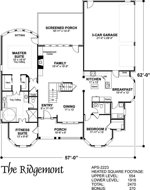Lower Floorplan image of The Ridgemont House Plan