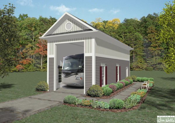 Rv garage one 1683 the house designers for Motorhome carport plans