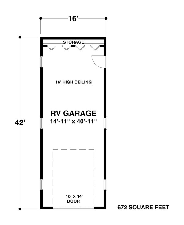 Rv garage one 1683 the house designers for Height of rv garage door