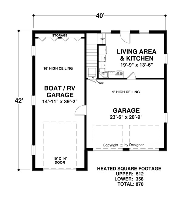 Boat rv garage 3068 1 bedroom and 1 5 baths the house for Rv garage plans with living space