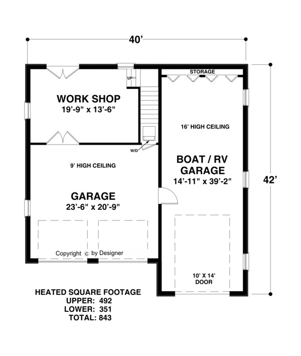 Boat rv garage 1753 1 bedroom and 1 5 baths the house for 2 car garage size square feet