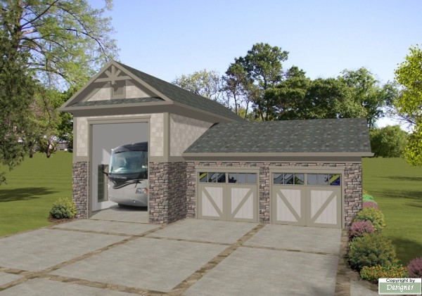 Rv garage 3070 the house designers for Rv cottage plans