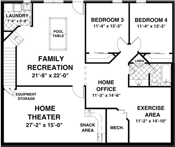 The creekstone 1123 2 bedrooms and 2 baths the house for Home plans with basement floor plans