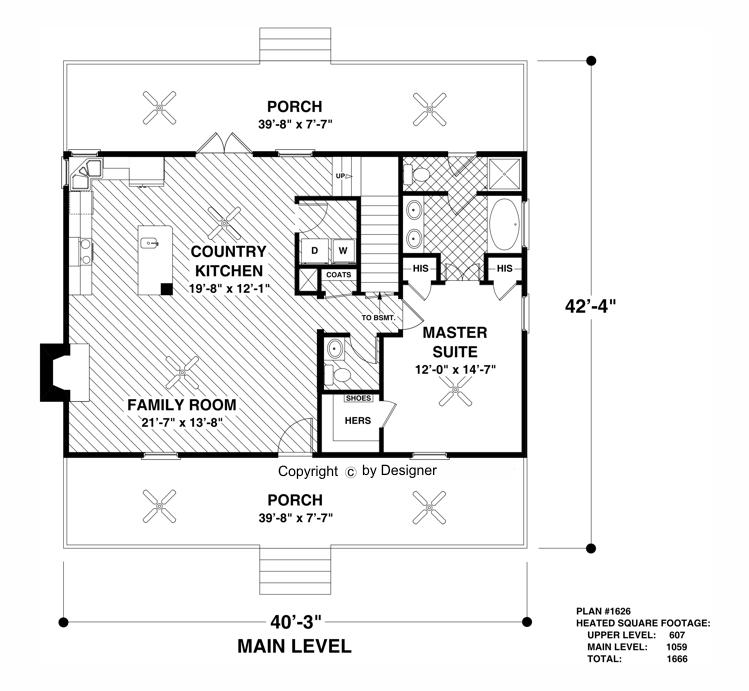 main level floor plan - Cottage Floor Plans