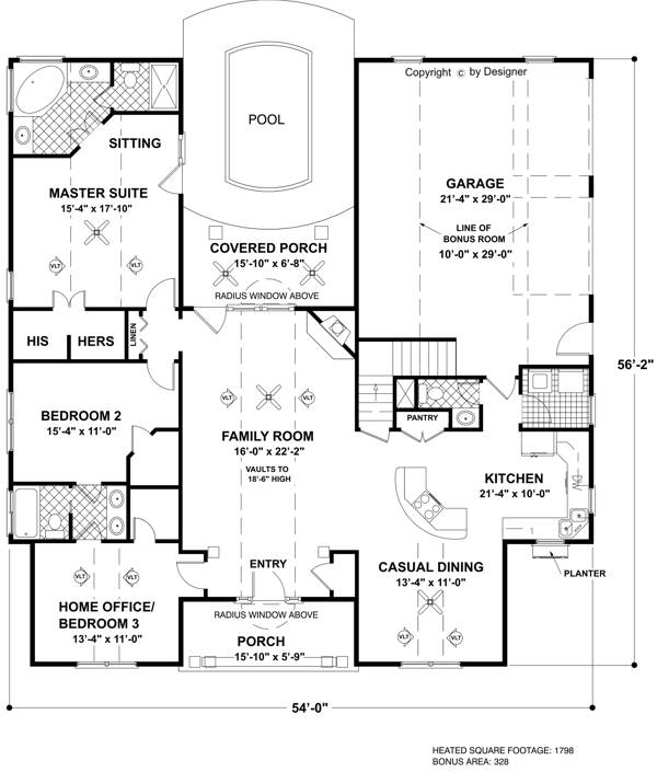 The windward 6468 3 bedrooms and 2 baths the house designers floorplan malvernweather Image collections