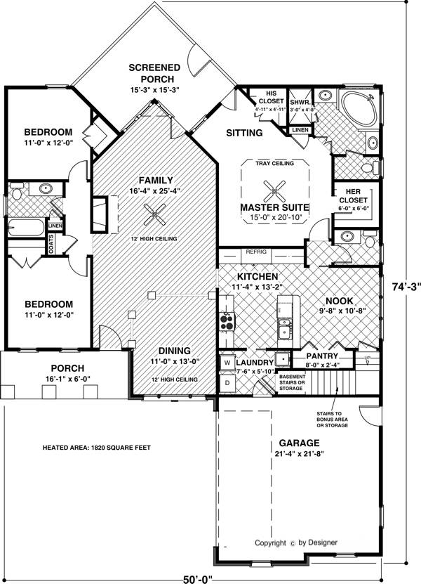 The aberdeen 6923 3 bedrooms and 2 baths the house for Small garage plans free