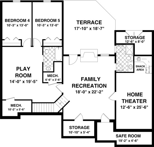 The blue ridge 8435 3 bedrooms and 2 5 baths the house Two bedroom house plans with basement