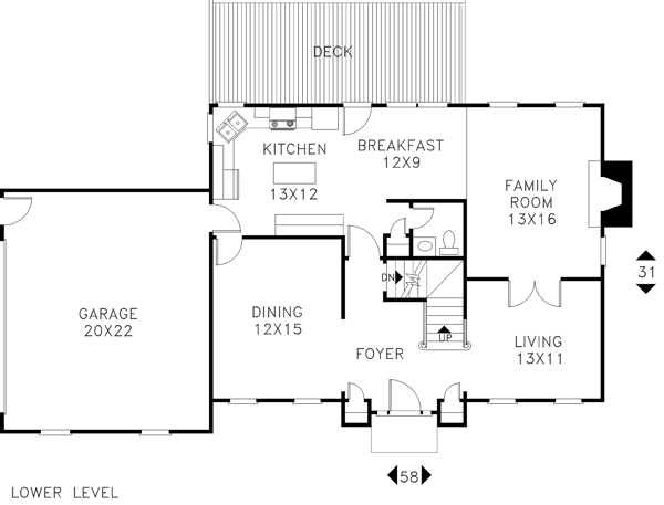Lower Level Floorplan image of The Cleveland House Plan