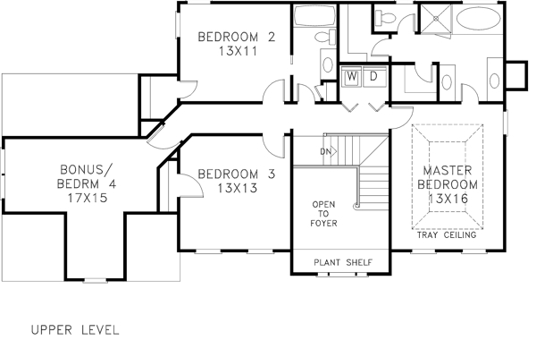 Upper Level Floorplan image of The Cleveland House Plan