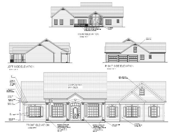 Plan Elevation End View : Modest southern home with three bedrooms