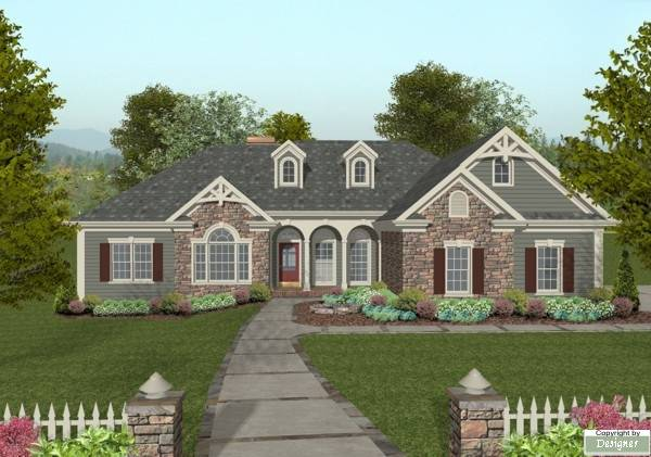 The mount airy 8460 3 bedrooms and 2 baths the house for One level house plans with porch