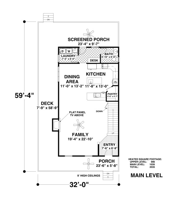 Main Level Floor Plan image of The Ocean View Plan