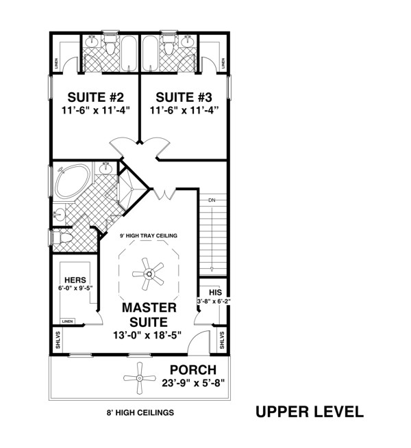 The Ocean View   Bedrooms and Baths   The House DesignersUpper Level Floorplan