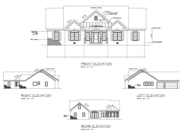 Top Elevation Plan : The brookshire bedrooms and baths house