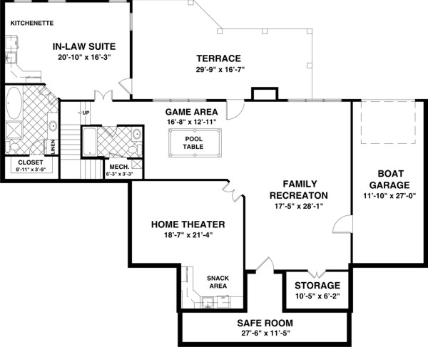 The long meadow 1169 3 bedrooms and 3 5 baths the for Four bedroom house plans with basement