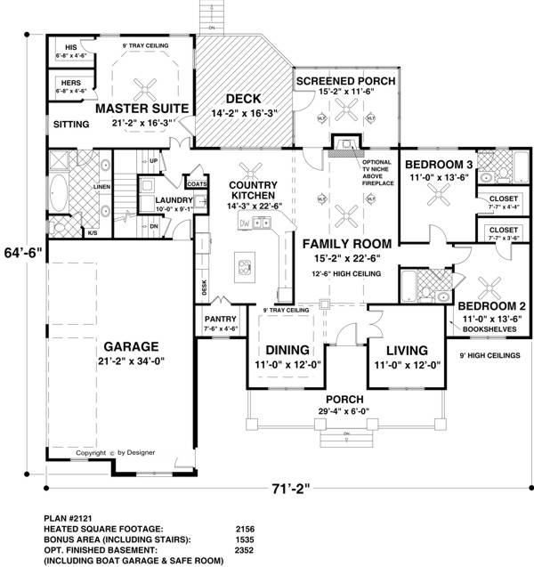 The long meadow 1169 3 bedrooms and 3 5 baths the for Long house plans