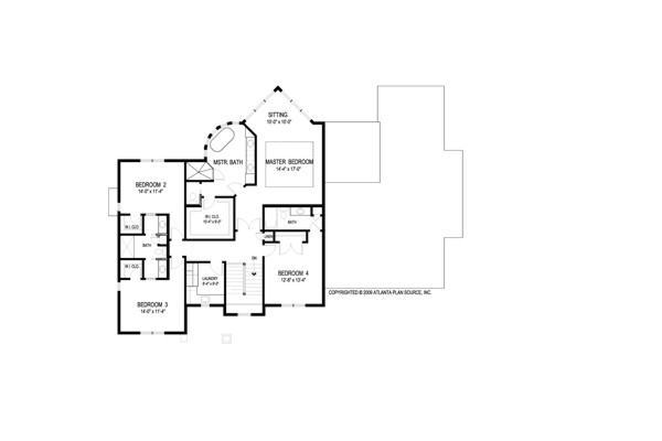 Upper Level Floorplan image of Traverse House Plan