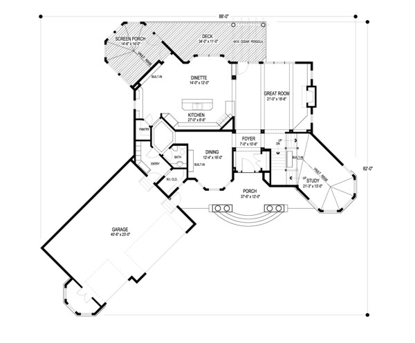 Main Level Floor Plan image of Anna's Garden House Plan