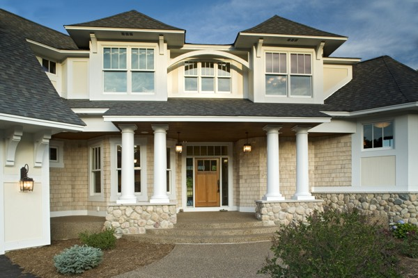 Front Elevation Of House With Pillar : Decorative accents enhance your home the house designers