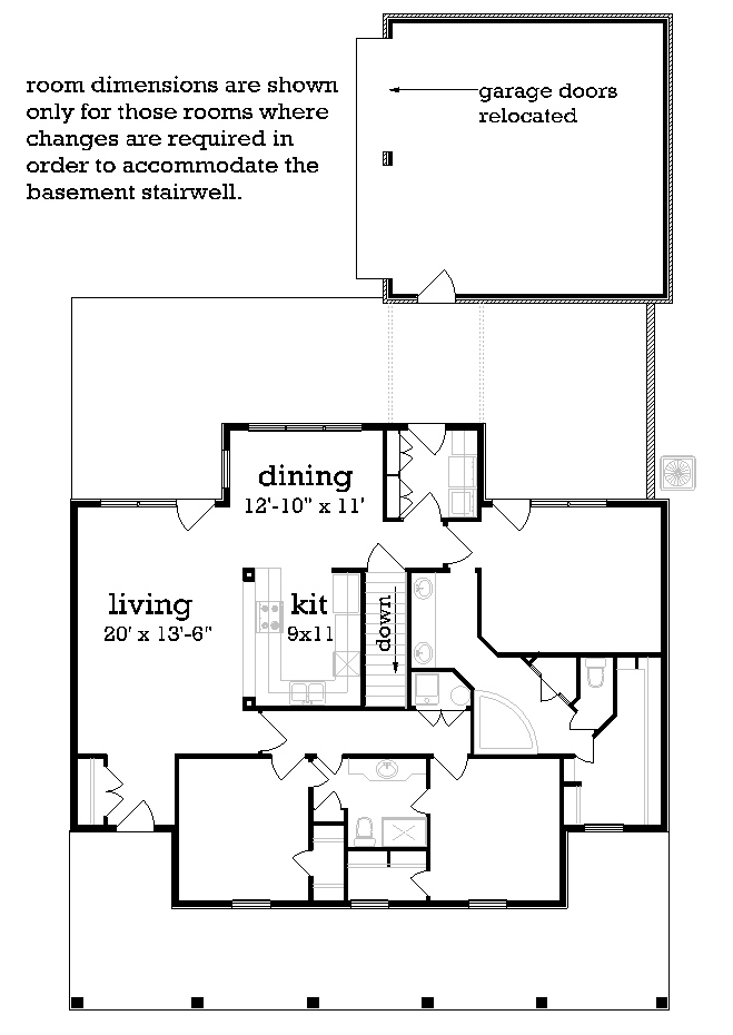 Main Level Stair Location with optional basement