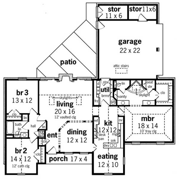Floor Plan image of Willow Oaks - 1830 House Plan